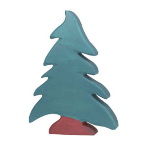 Holzfigur-Nadelbaum-Holztiger