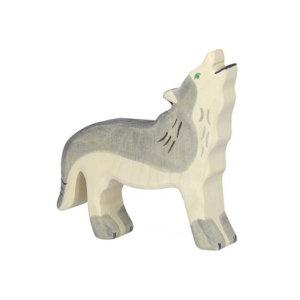 Holztier-Wolf-heulend-Holztiger