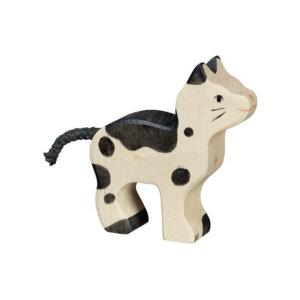 Holztier-Katze-klein-schwarz-weiss-Holztiger