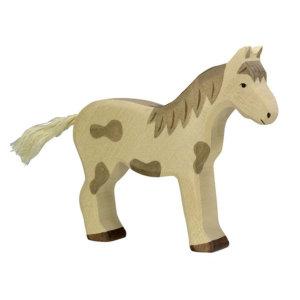 Holztier-Pferd-stehend-gefleckt-Holztiger