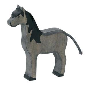 Holztier-Pferd-stehend-schwarz-Holztiger